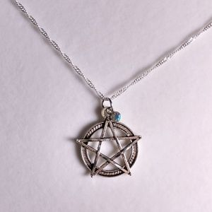 Wiccan Pentagram Antique Silver Necklace